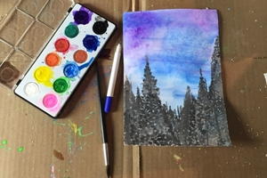 Pine tree watercolor painting