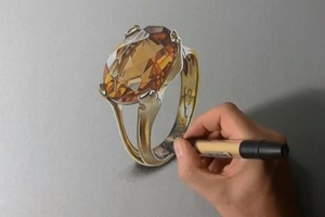 Drawing a realistic Yellow Topaz Gold Ring