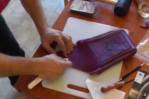 Making a leather purse by hand