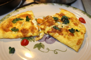 Ham and Cheese with Kale and tomato omelette