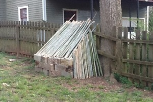 Stick Fort on Fence