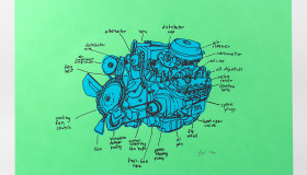 Hand Drawn Engine Diagram
