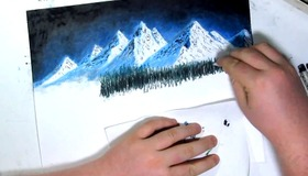 Night Mountain Pastel Painting