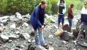 Using a Rock Hammer