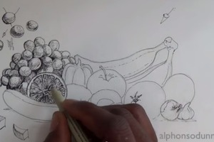 Pen & Ink Tutorial: Fruit and Vegetable Still Life