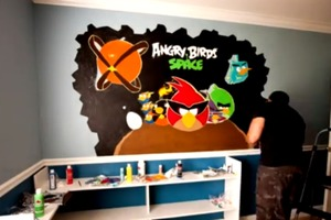 Angry birds wall painting