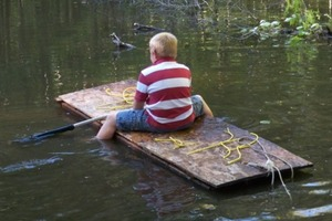 Raft made from recycled materials