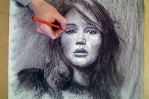Jennifer Lawrence Portrait - Drawing Upside Down!