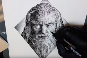 Pointillism Portrait Timelapse: Gandalf