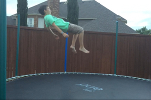 Floating above the trampoline