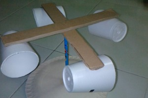 Anenometer from Cups, Cardboard, and a Pencil