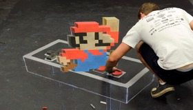Super Mario Chalk Drawing