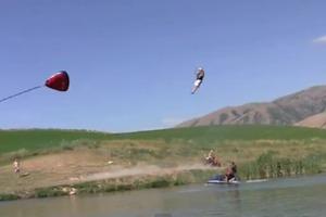 Human slingshot slip and slide